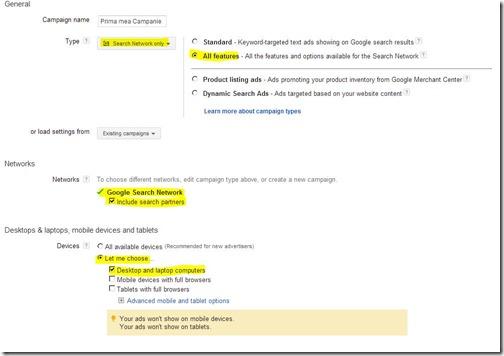prima mea campanie google adwords