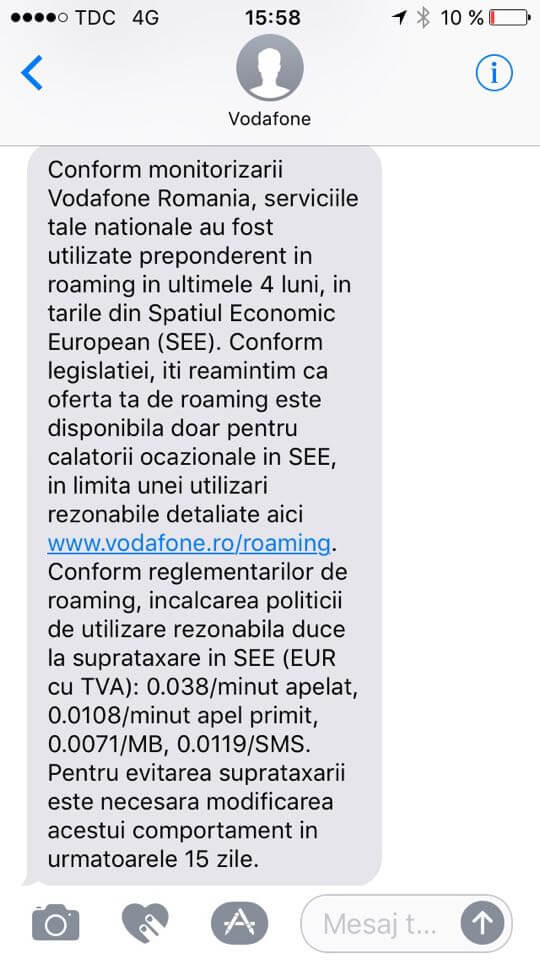 vodafone sms roaming